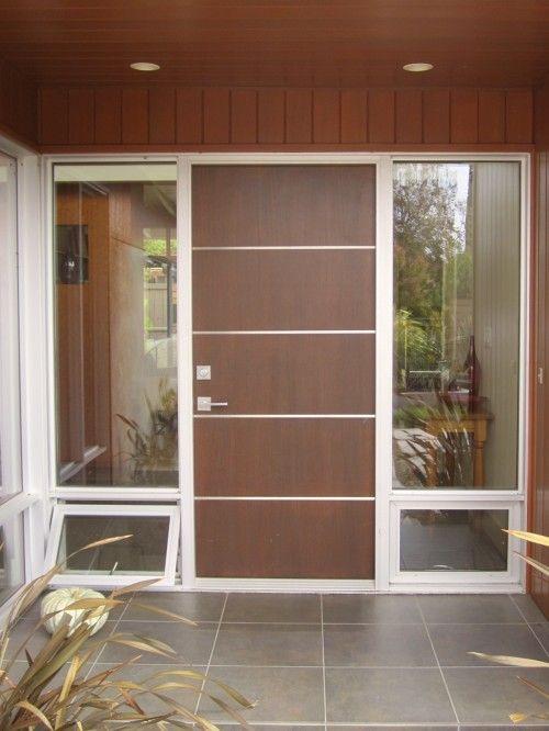 Flush Horizontal Aluminum Inlays In Aluminum Frame Home Door Design Contemporary Entry Doors Modern Front Door