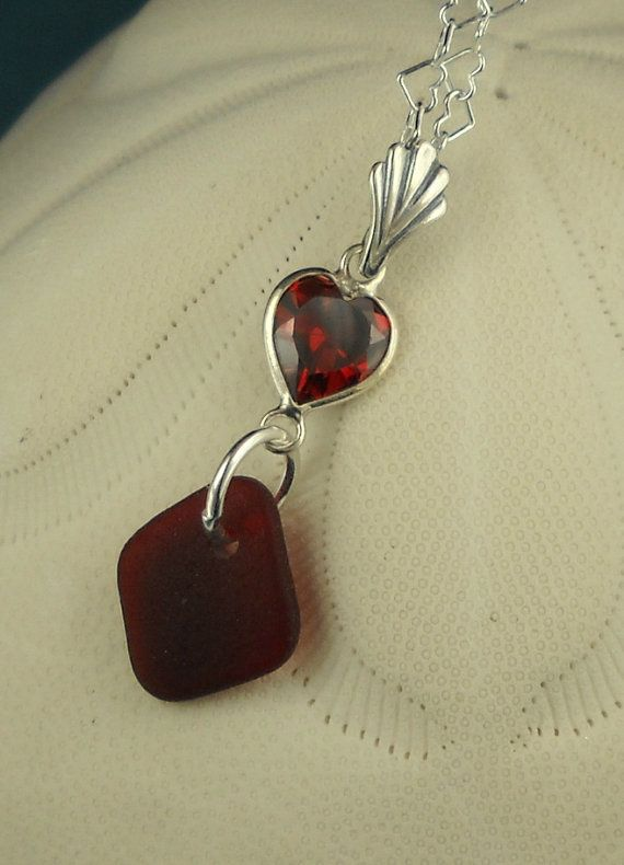Red Sea Glass Necklace Sterling Silver Heart by seaglassgems4you, $65.00