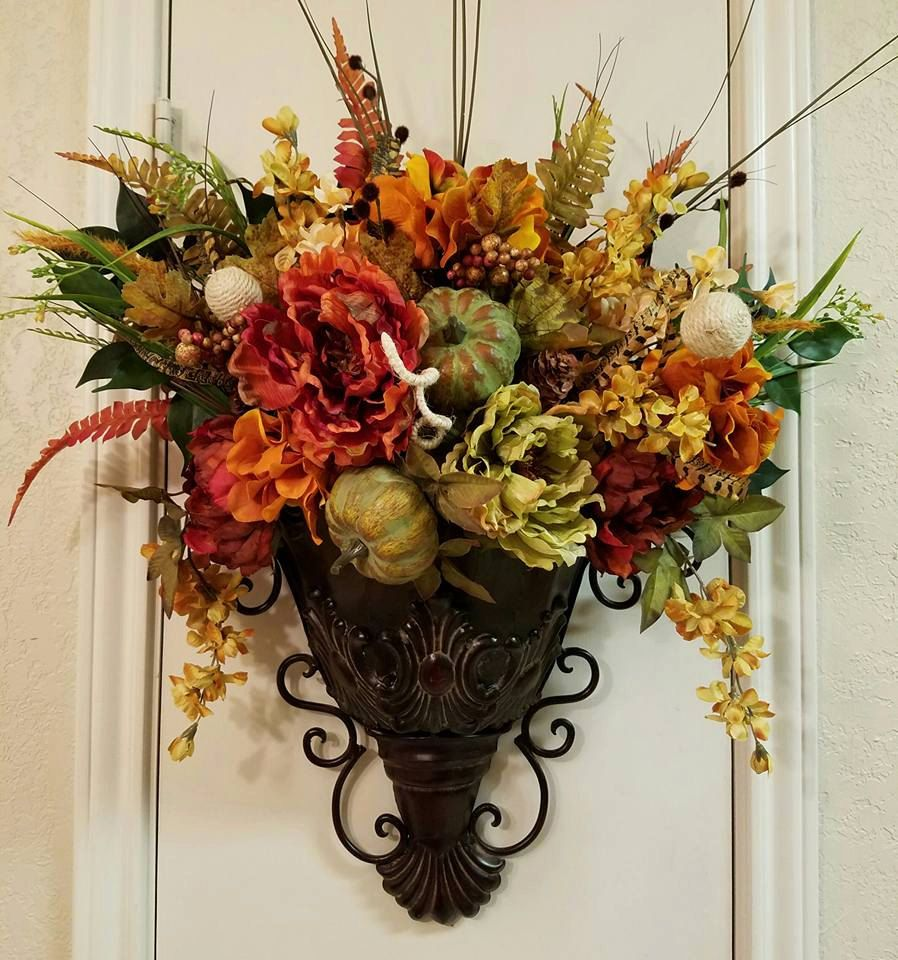 Elegant Fall Sconce, Floral Wall Sconce, Thanksgiving ... on Decorative Wall Sconces For Flowers Arrangements id=64378