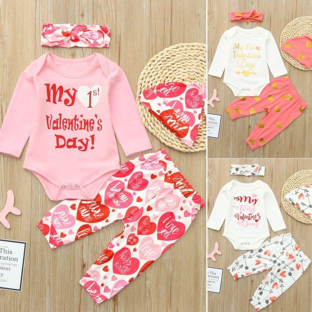 Pcs Newborn Infant Baby Boy Girl Romper Tops Pants Hat Set Valentine Outfits G Fashion