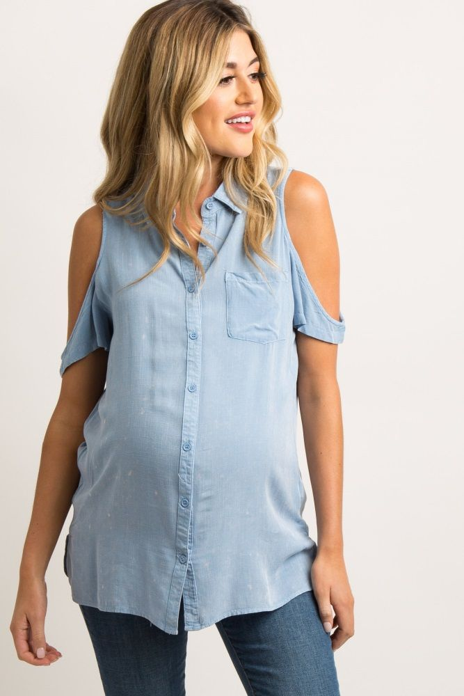 922469c385c46b Blue Collared Cold Shoulder Maternity Top | maternity | Maternity ...
