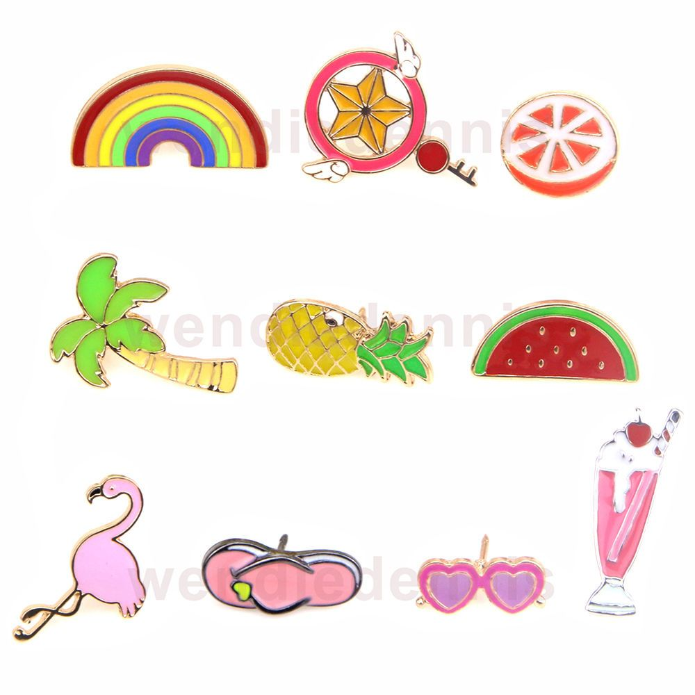 10pcs Fashion Metal Brooches Funny Rainbow Fruit Sunglass Metal Pins Decoration