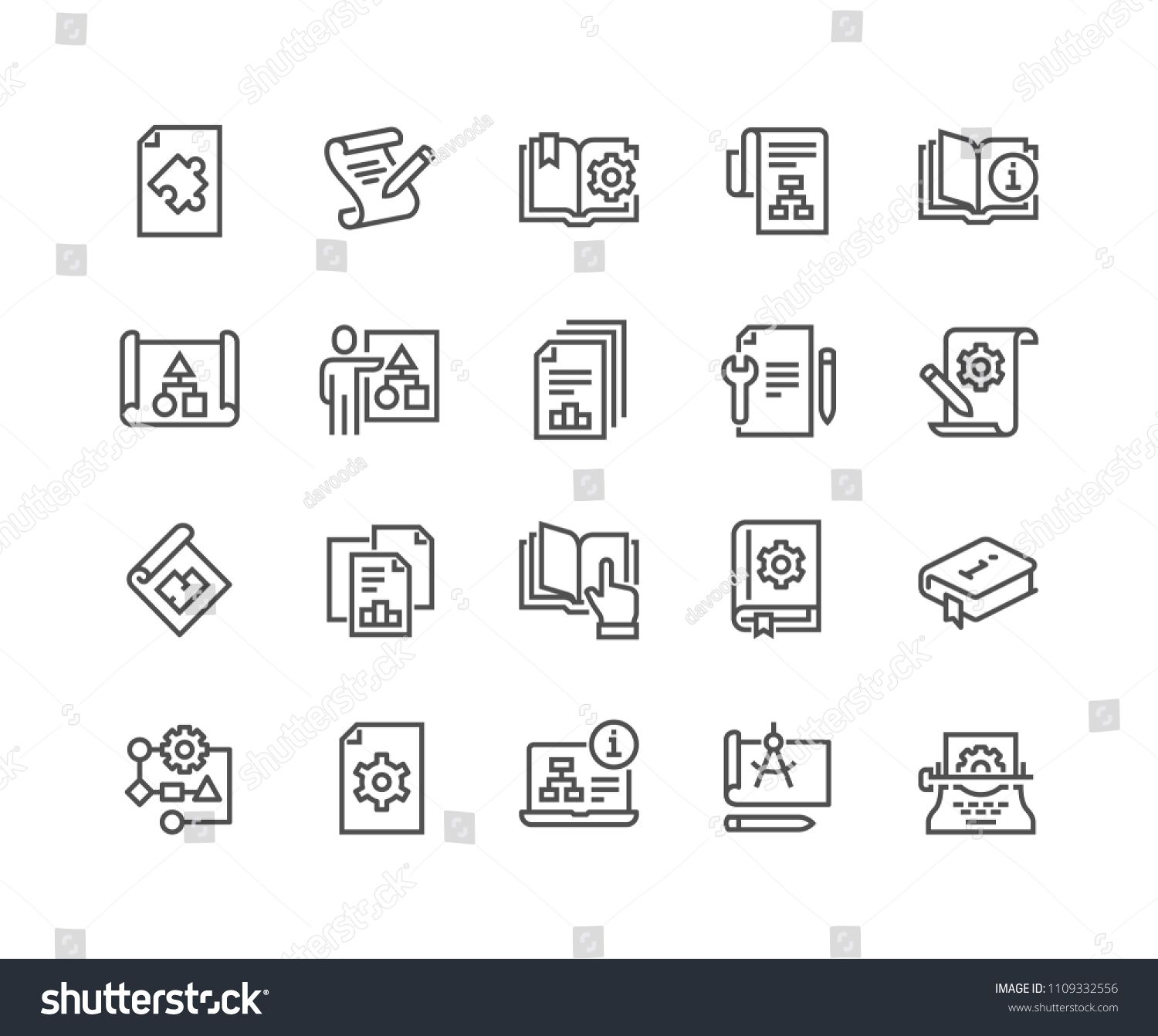 Simple Set Of Technical Documentation Related Vector Line Icons Ncontains Such Icons As Plan Blueprint Manual Line Icon Technical Documentation Blueprints