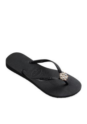 adac41a924fc Havaianas Women s Slim Crystal Poem Flip Flop - Black Dark Grey - 35 36