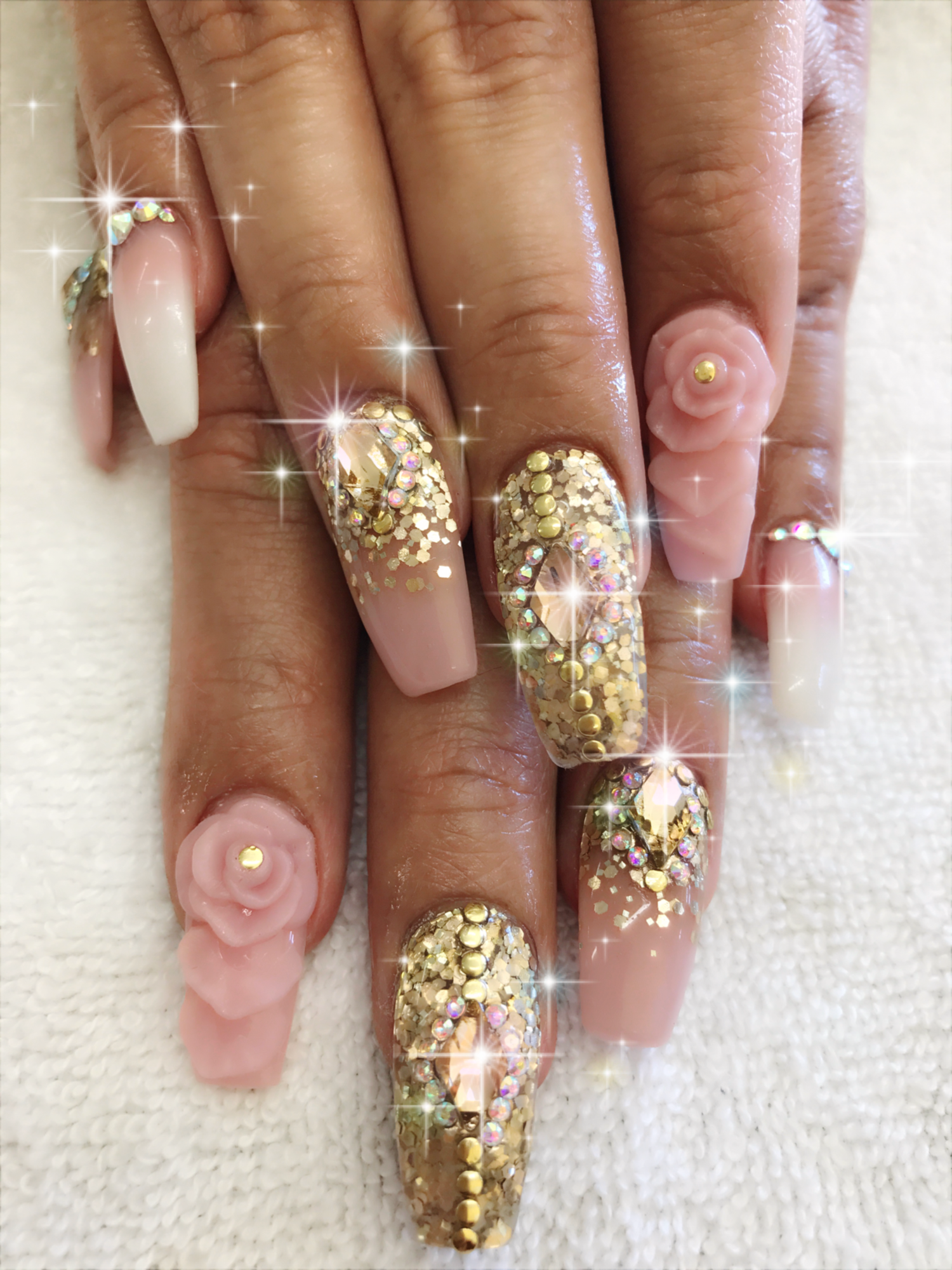 Nude & gold acrylic nails, powder , 3D Rose , diamonds/ rhinestones ...