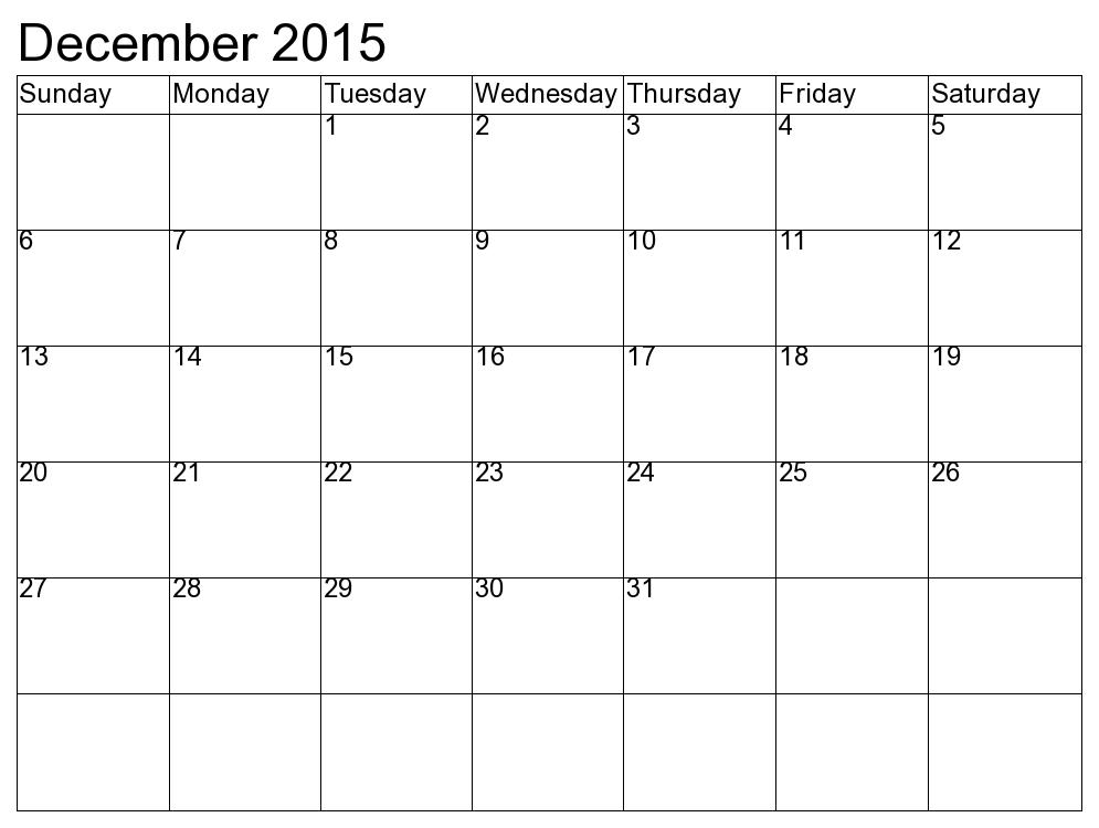 blank december calendar
