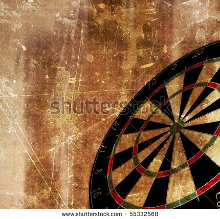 stock photo : darts board shown in perspective on a grunge background