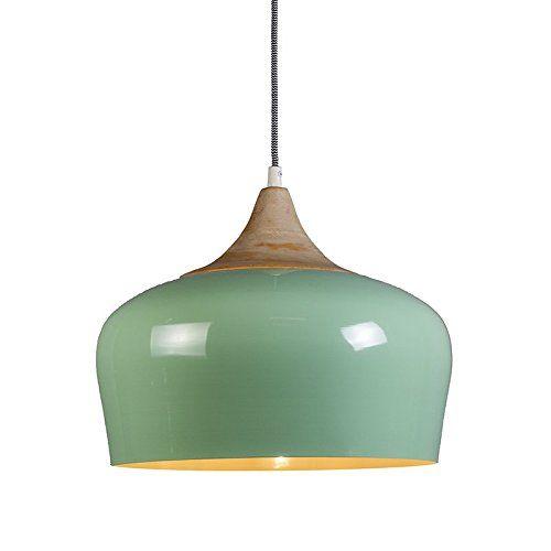 qazqa design modern pendelleuchte pine hellgr n aluminium holz rund led geeignet e27 max 1 x. Black Bedroom Furniture Sets. Home Design Ideas
