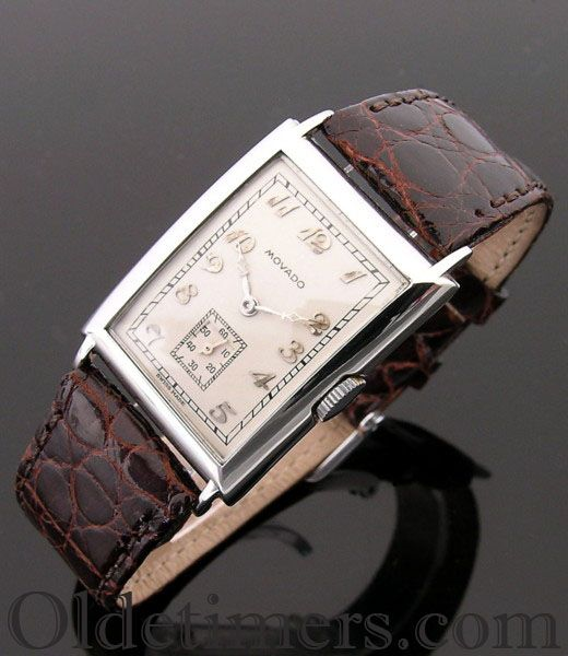 An 18ct white gold rectangular vintage Movado watch, 1930