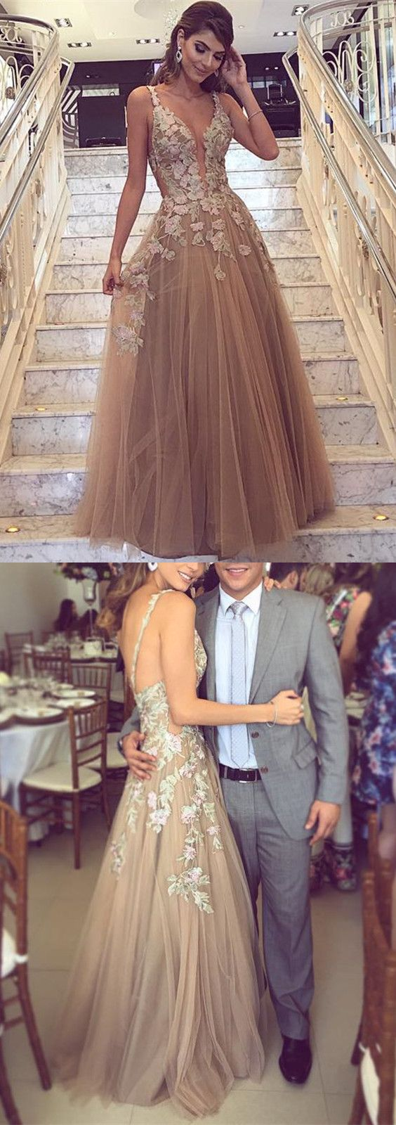Lace Embroidery V Neck Tulle Prom Dresses Floor Length