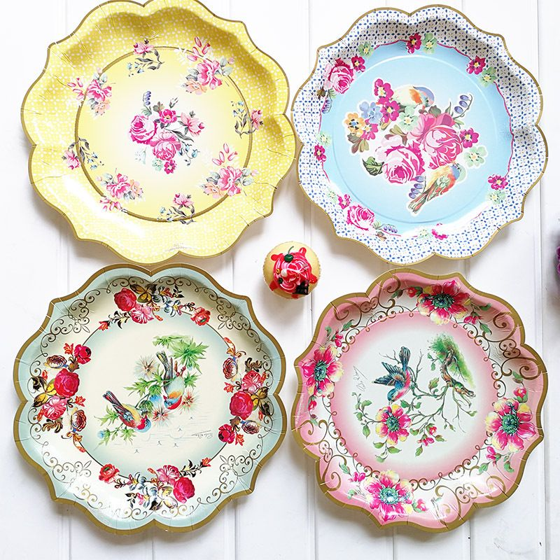 Cheap Disposable Party Tableware Buy Directly From China Suppliers 6pcs 11 8inch European Style Dispos Paper Plates Birthday Paper Plates Party Floral Dessert