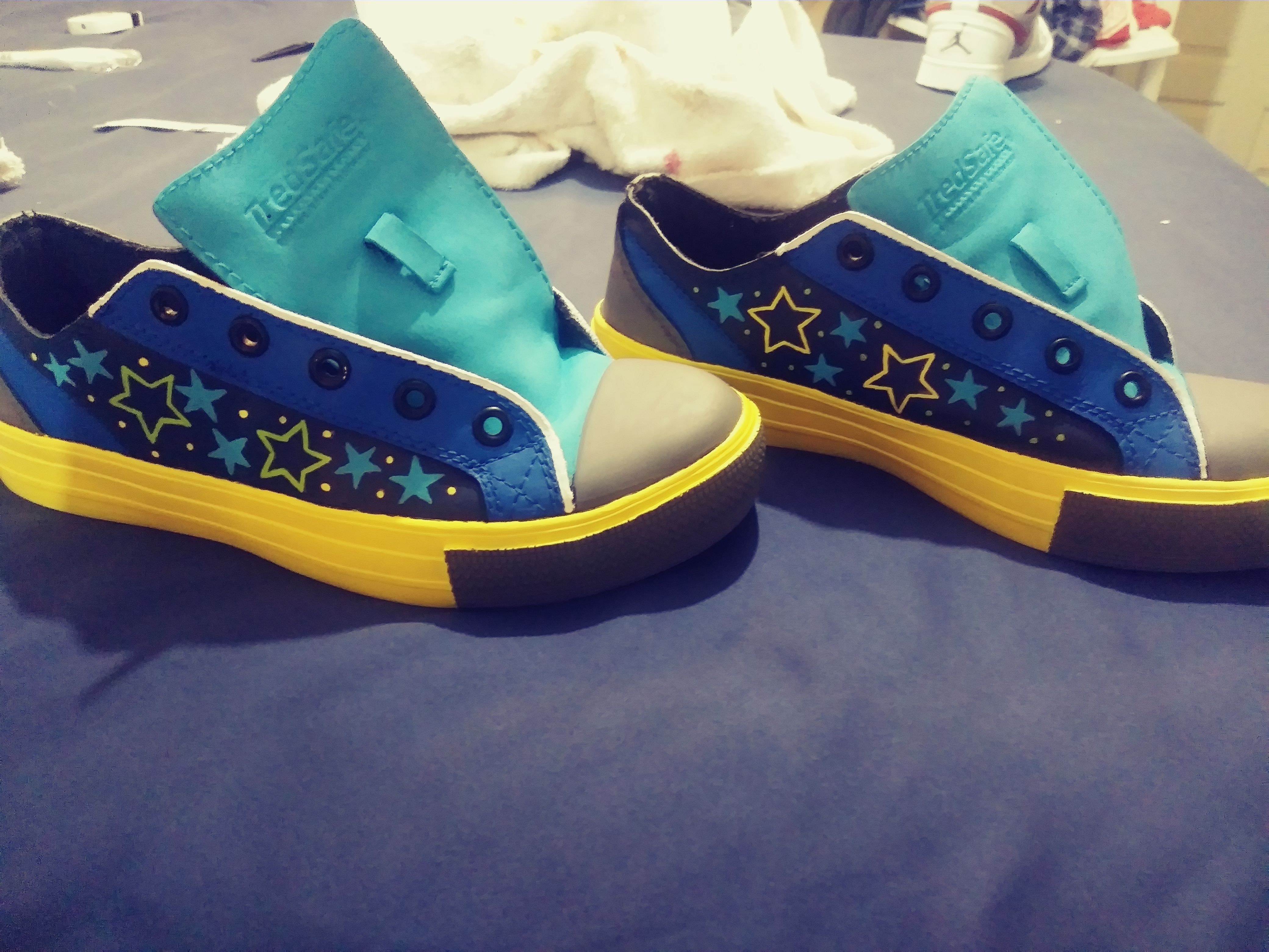 Hand painted, tredsafe shoes remade