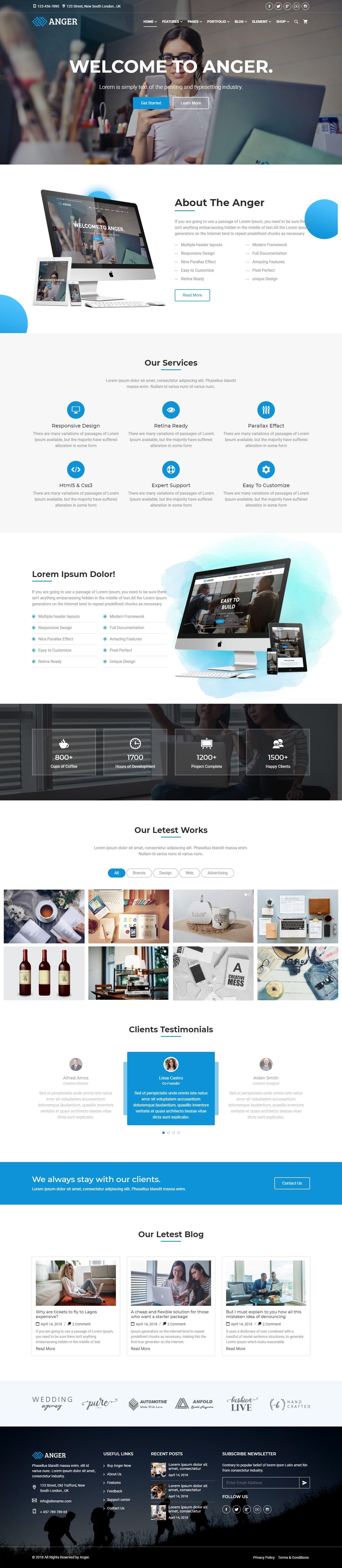Anger Multipurpose Creative Agency Corporate And Portfolio Bootstrap 4 Multi Purpose Template Fun Website Design Web Design Agency Web Design Company