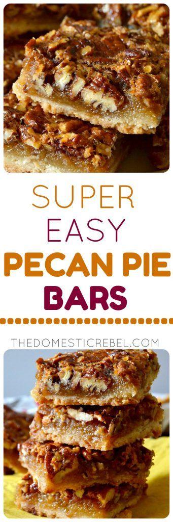 Super Easy Pecan Pie Bars #pecanpierecipe