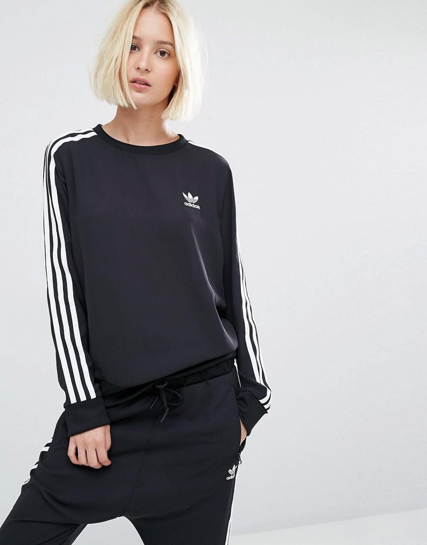 Adidas Adidas Originals Three Stripe Chiffon Sweatshirt At Asos Sweatshirts Women Clothes Design Sweatshirts Hoodie [ 1110 x 870 Pixel ]