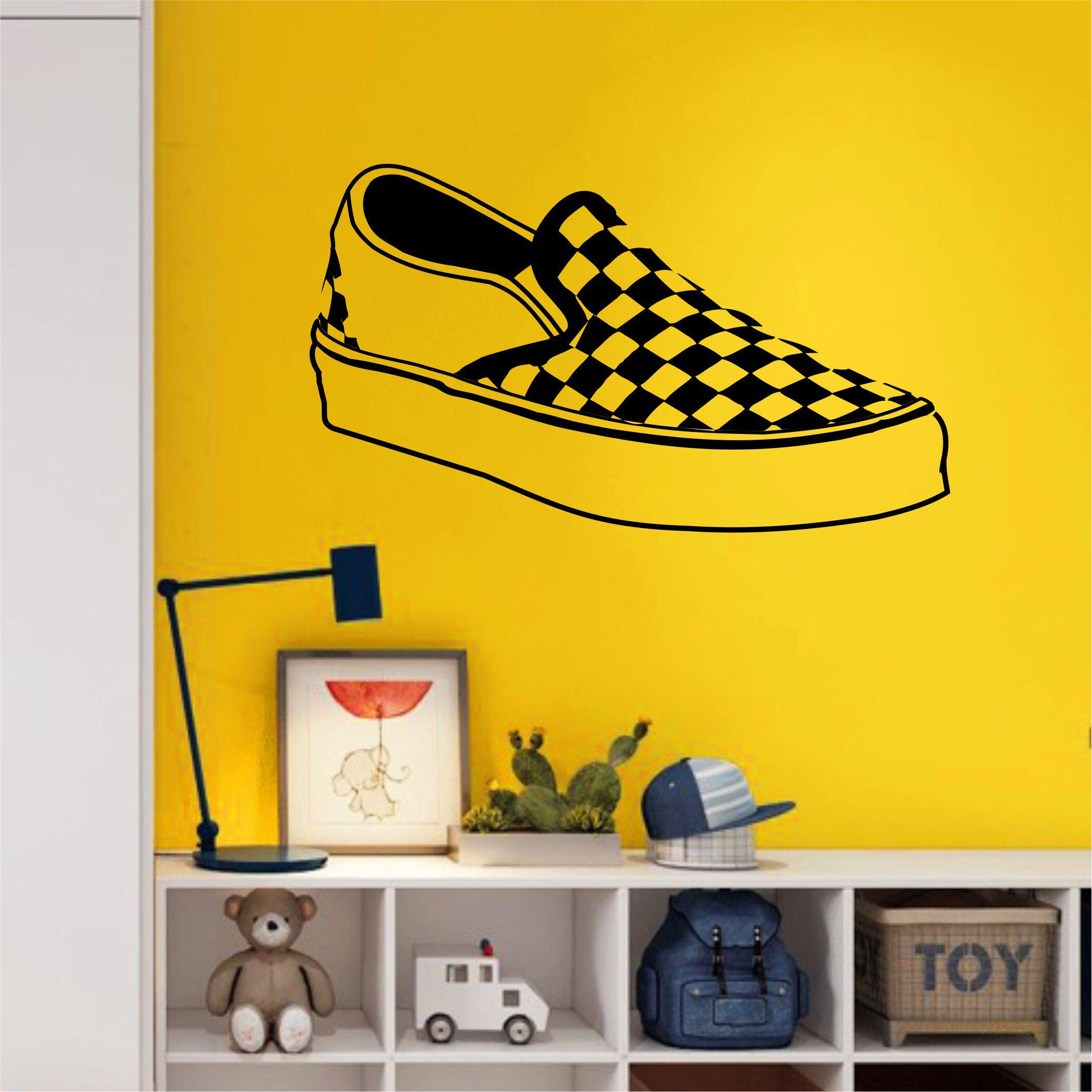 Checkered Vans Wall Decal - Large Wall Art - Kids Room Decal - Girls ...
