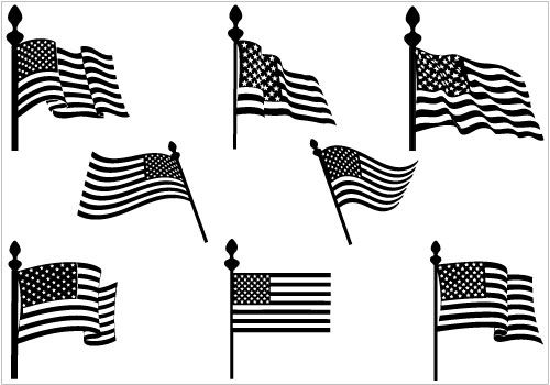 American flag silhouette. Us flags vector graphics