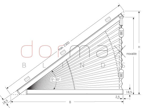 Free Hanging Triangle Shaped Pleated Blind Typ Fds 3