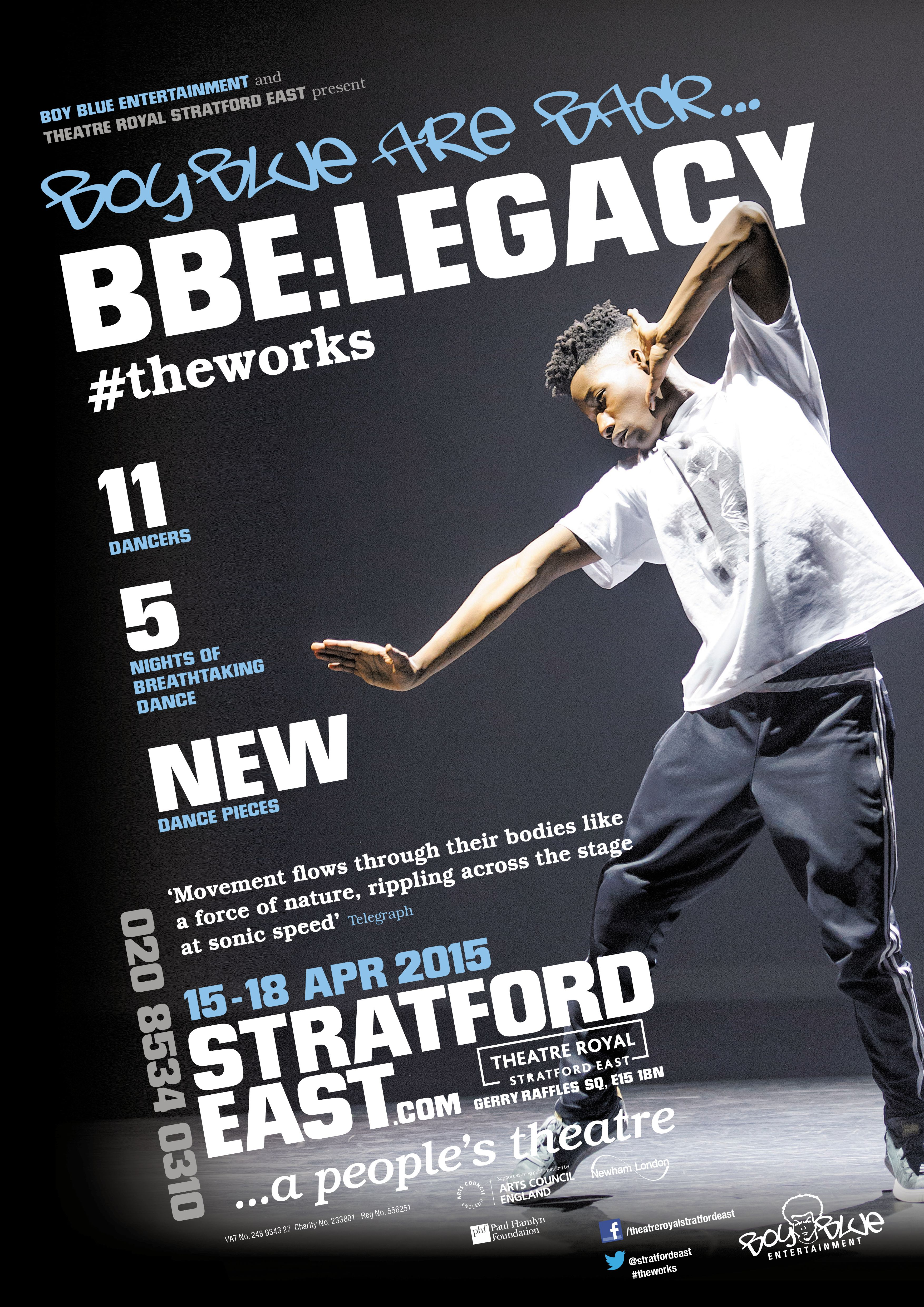 design of theatre poster for bbe legacy stratford east theatre in