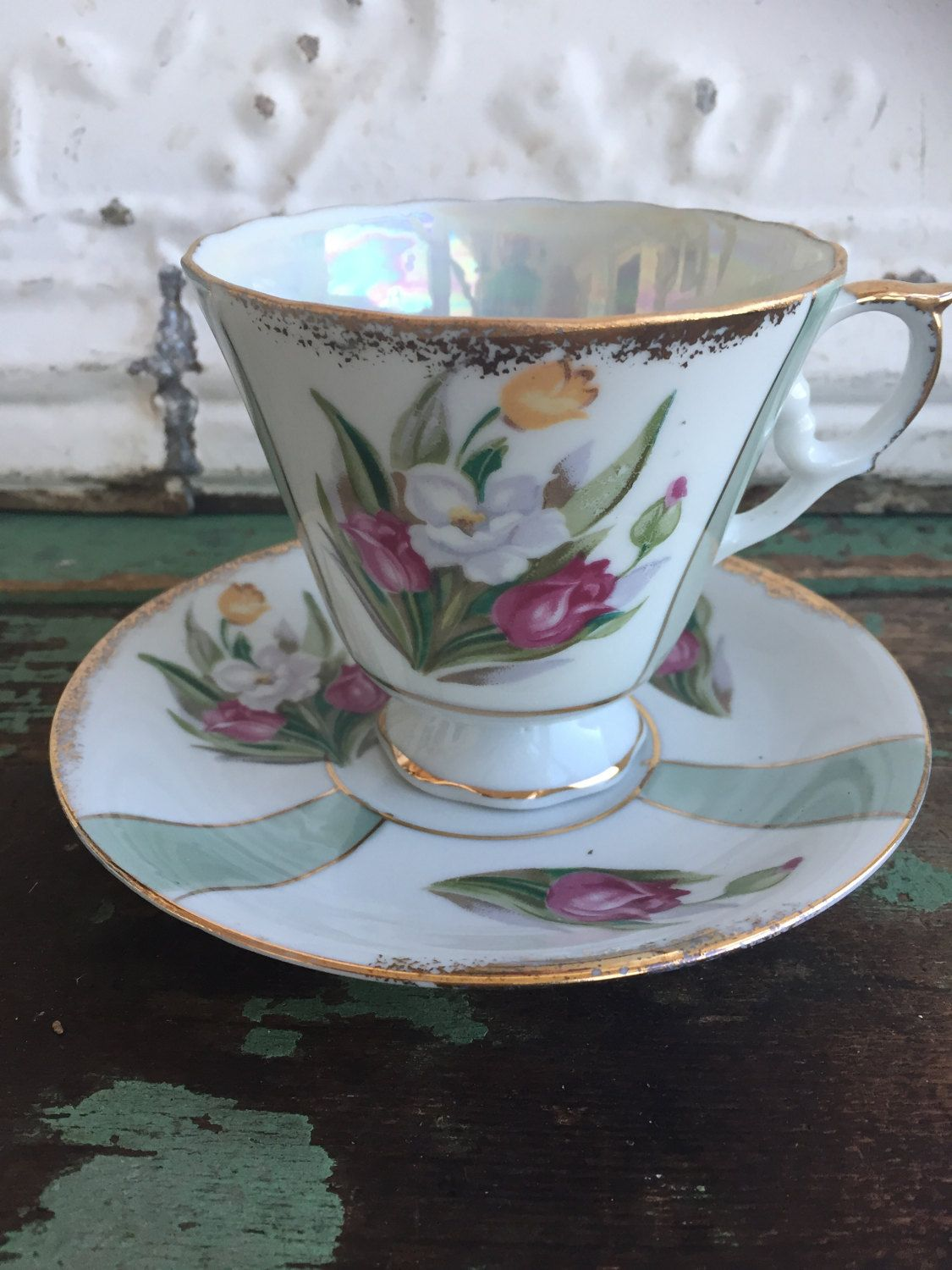 Vintage Teacup Tea Cup and Saucer Lusterware Floral rose Pedestal by Holliezhobbiez on Etsy