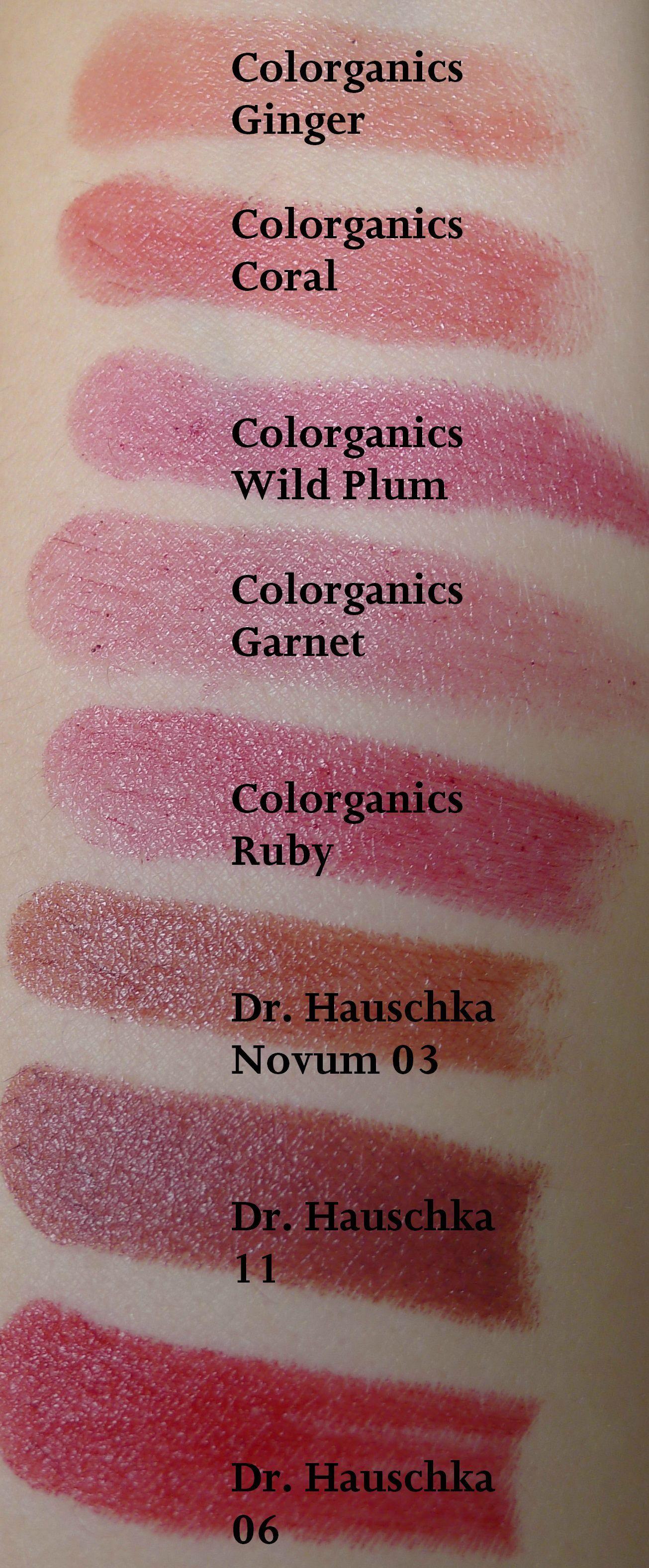 Hemporganics Colorganics And Dr Hauschka Swatches Crunchy Makeup Green Beauty Swatch