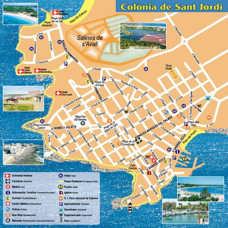 Colonia Sant Jordi Map Karte Mapa Travel Ibiza Menorca