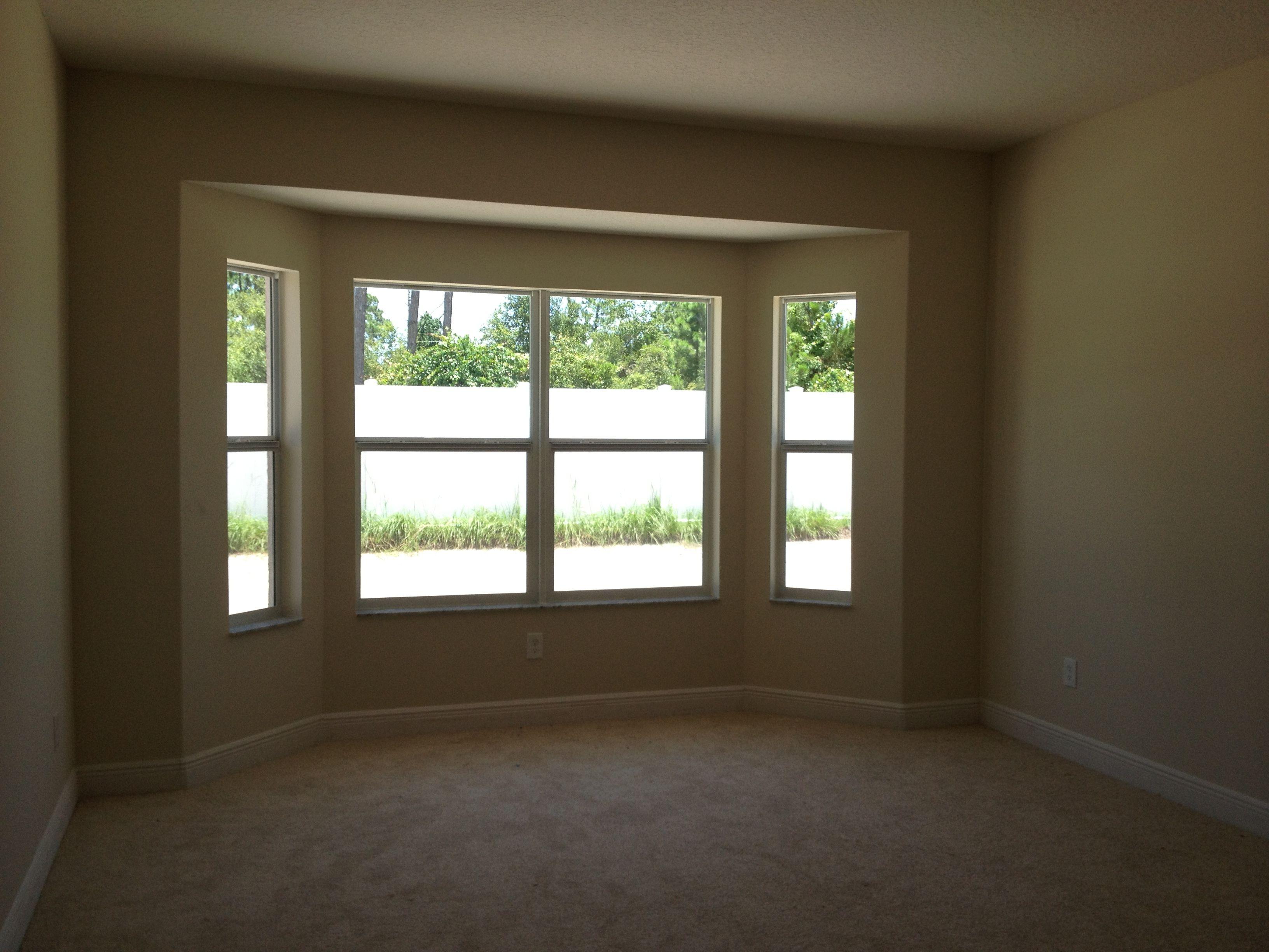 Bay Window Grey Trim Tan Palate Tan Cushion Window Cushion