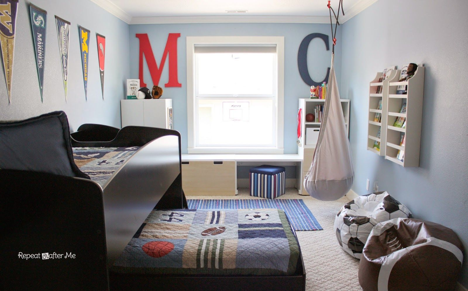 Modern Sports Kids Room Designs Inspiration Fascinating Light Blue Design With Cute Trundle Bed And Football Baseball Bean