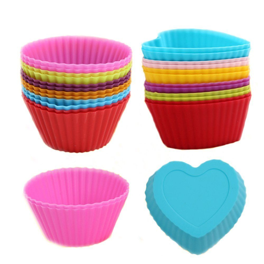 Goldmice Silicone Muffin Cups Molds 12 Pack Reusable Silicone