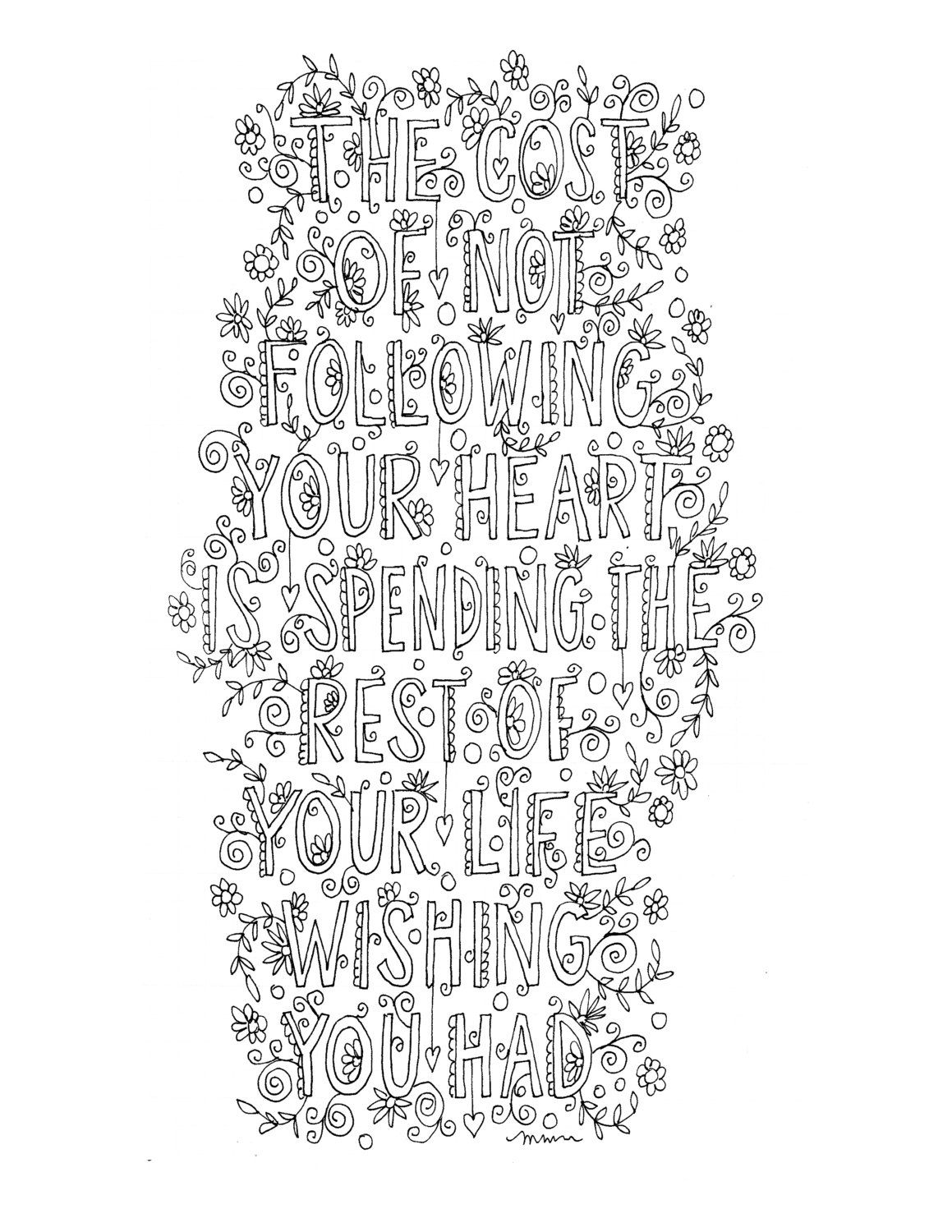 Quote coloring page -INSTANT DOWNLOAD - handlettered, print as many ...