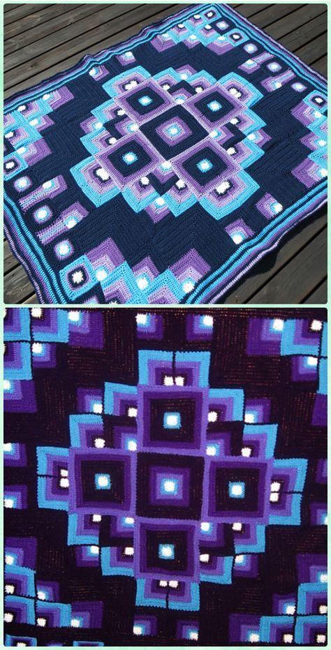 Crochet Mandala Geometric Blanket Free Pattern - Crochet Block ...