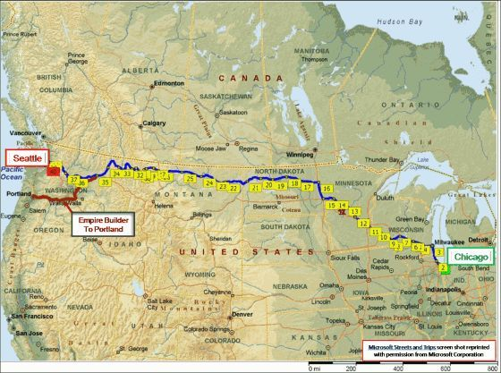 Map Of Empire Builder Route From Chicago To Seattle Amtrack - Map of passenger train routes in usa