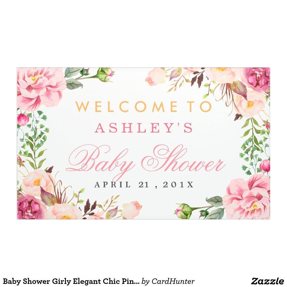Baby Shower Girly Elegant Chic Pink Floral Banner | Baby Shower ...