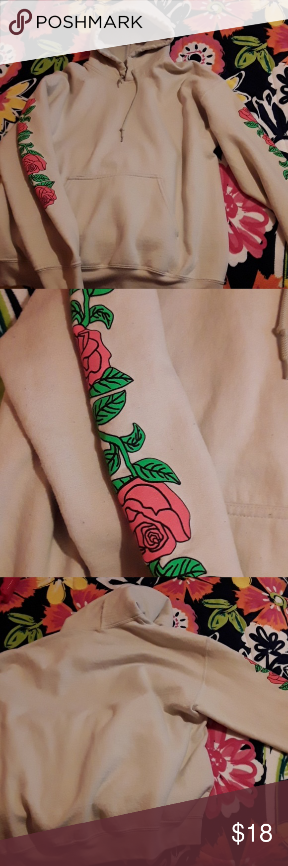 Artist Union Clothing Co Hoodie Beige With Rose Design On Sleeves