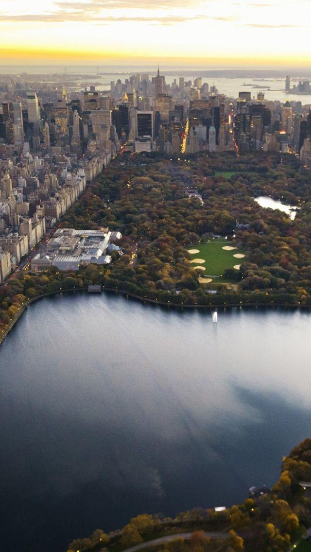 central park, panorama, night, new york, lake, skyscrapers, city, manhattan