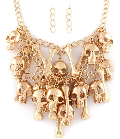 SKULLS AND BONES STATEMENT NECKLACE EARRINGS SET (GOLD TONE) - $36