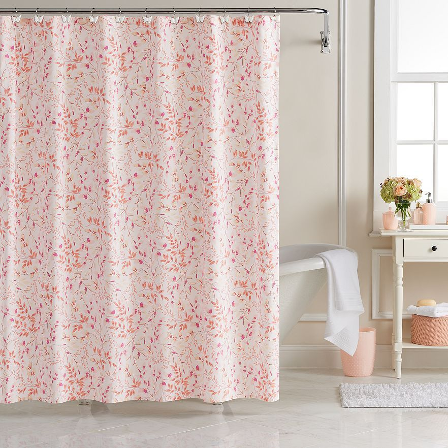 lc lauren conrad sprig leaf shower curtain, multicolor | kohls
