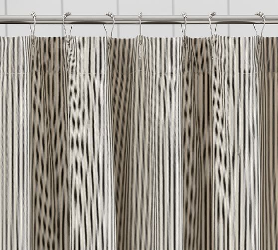 Ticking Stripe Ruffle Shower Curtain Primitive Bathrooms Ruffle Shower Curtains Shabby Chic Bathroom Decor