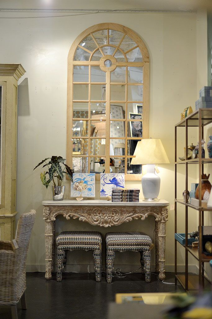 Window #mirror And Gallagher #marble #console At #Houston #Mecox  #interiordesign
