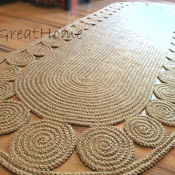 8ft Crochet Natural Jute Rug Braided From Greathome On