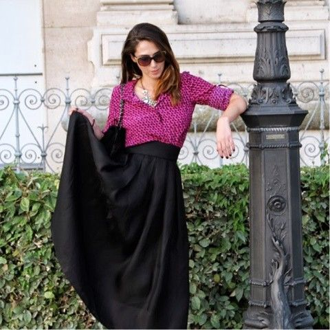 printed blouse & a long skirt | Long Skirt Fashion | Pinterest