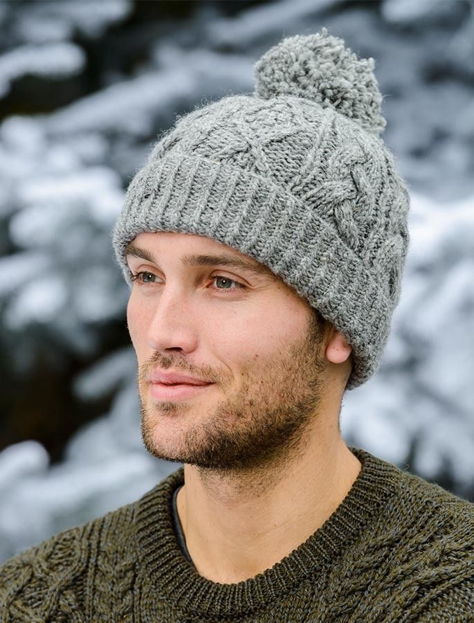 Aran Fleece Lined Rib Cap with Bobble | Knitted hats, Knit ...