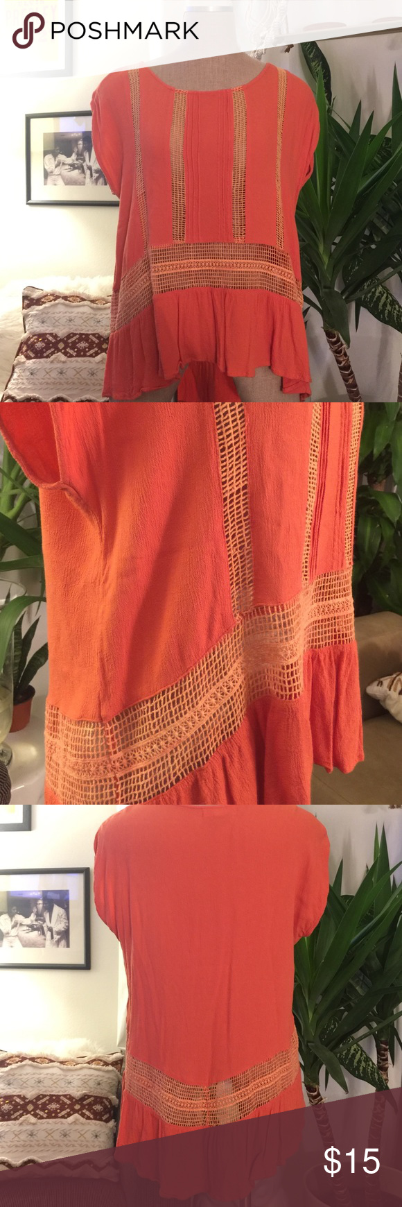 Urban Outfitters Orange High Low Top Orange Staring at Stars high low top from Urban Outfitters with mesh style detailing. Super cute! Love how the longer back drapes. Barely worn, great condition! Urban Outfitters Tops Blouses