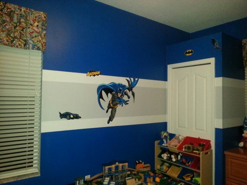 Batman Playroom With Sherwin Williams Hyper Blue Paint And Evening Shadow  Stripe! Part 56