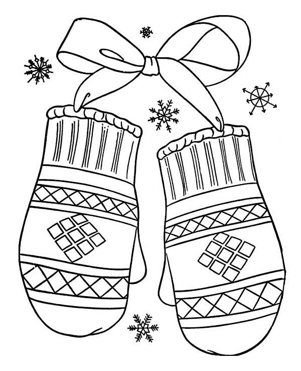 Winter A Lovely Winter Mittens Gift Coloring Page A Lovely