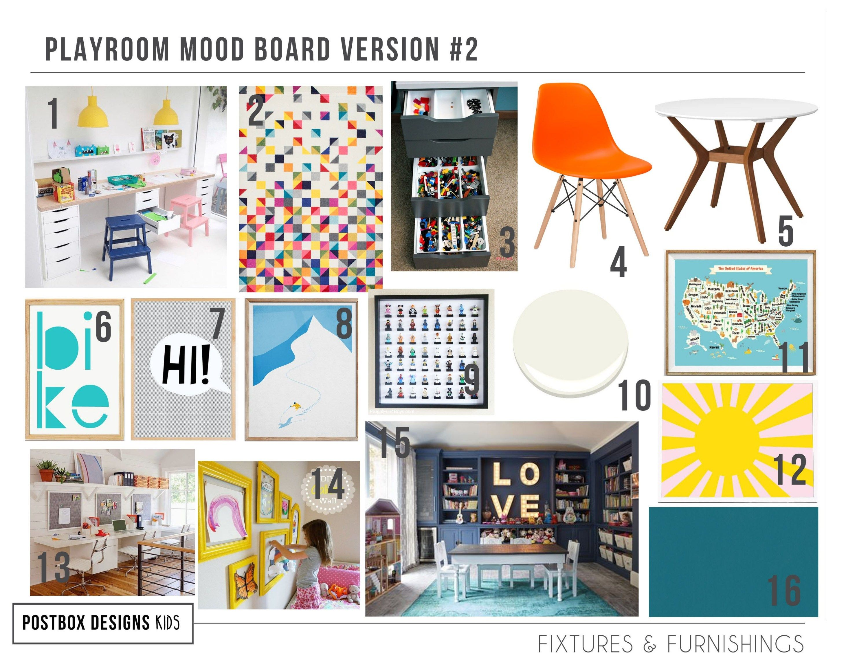 Bright Modern Playroom Design Homework Station Postbox Designs In 2020 Playroom Design Bonus Room Design Modern Playroom
