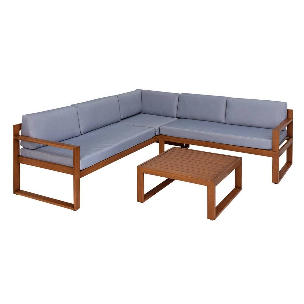Surprising Home 5 Seater Aluminium Corner Sofa Set Wood Effect Pdpeps Interior Chair Design Pdpepsorg