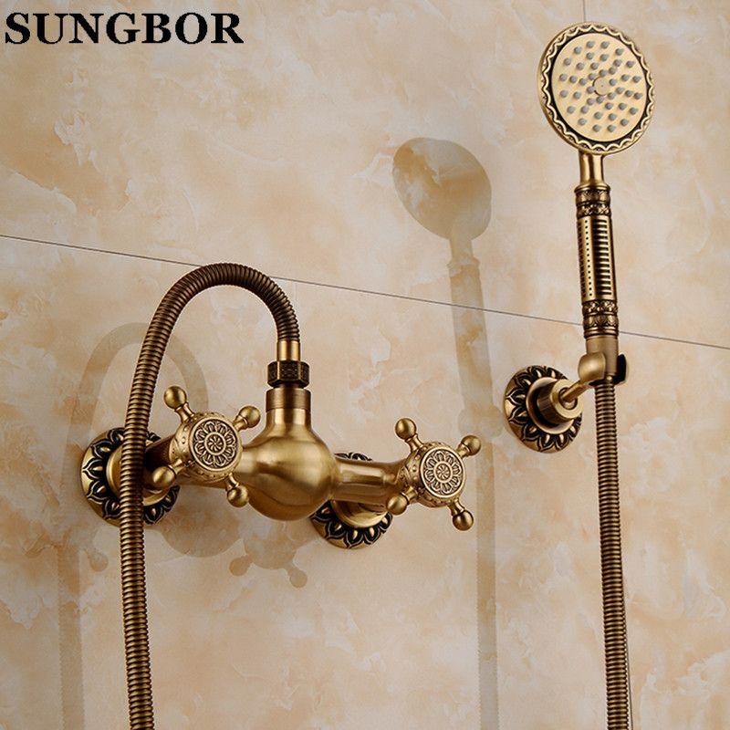 Bathroom Bath Wall Mounted Hand Held Antique Brass Shower Head Kit ...