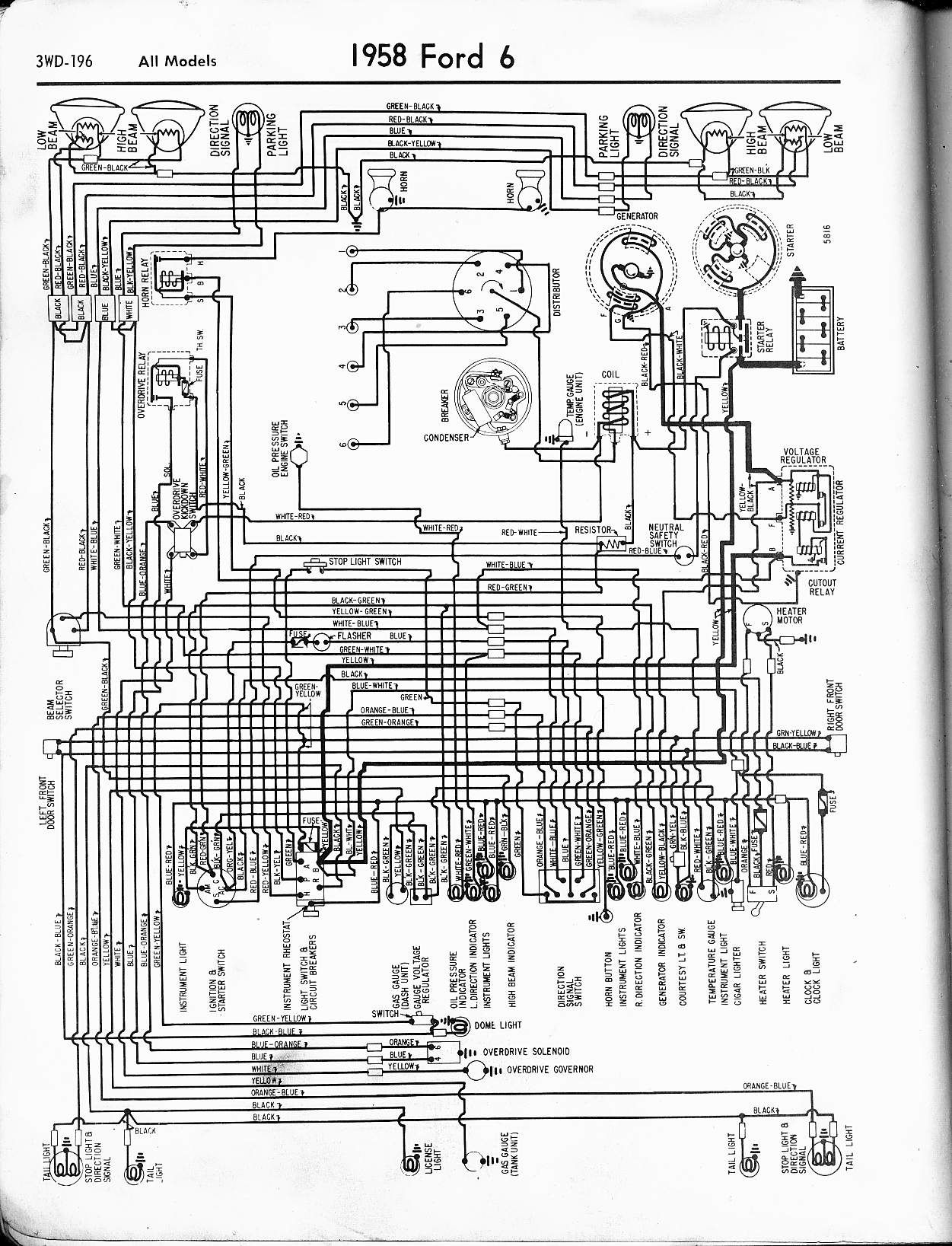 1958 Ford 6 Wiring Schematic