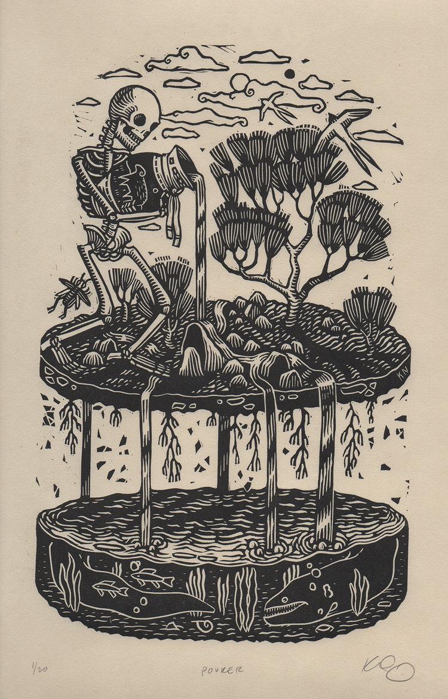 Pourer, linocut on paper Linocut, Art, Artist